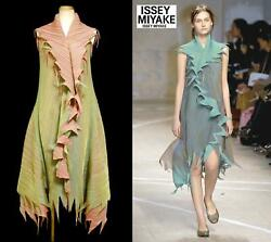 Rare 2007aw Runway Issey Miyake Fete Double-layer Dress With Decorative Frills 2