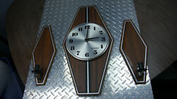 Vintage Bulova Wall Clock C3409 With Matching Candle Stick Holders E3409