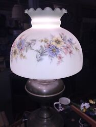 Aladdin Type Lamp Converted To Electric With Beautiful Glass Floral Shade