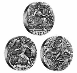 2015 Goddesses Of Olympus Silver Coins Set 3 Coins X 2oz High Relief Special