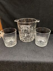 Crystal Ice Bucket And 2 Glasses With Chivas Regal 12 Years Old Scotch Whisky Logo