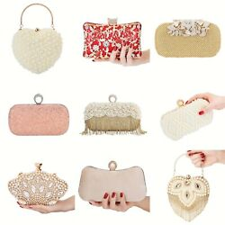 Womens Handbag Pearls Crystal Clutch Purses Evening Clutch Bag Rhinestone Ring $24.79