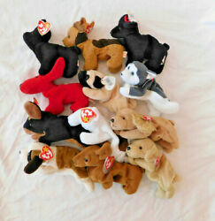 Beanie Babies Lot Of 12 Dogs Puppies Poodle Pug Husky Retired Rare Vintage