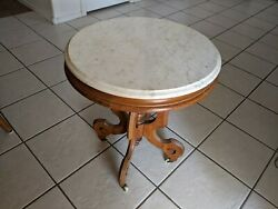 Round Antique End Table 20 Round X 22.5 Tall With 3/4 Thick White Marble Top
