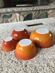 Vintage Pyrex Flameglo Mixing/nesting Bowls Complete Set Of 4 Fall Colors Usa