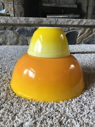 Vintage Pyrex Pineapple Party Chip And Dip Set Usa 401 404 Yellow Orange OmbrÉ