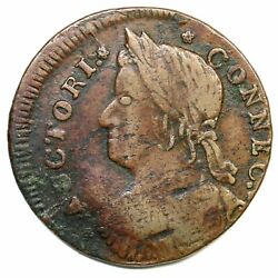 1787 33.36-t.2 R-2 Slighty O/c Connecticut Colonial Copper Coin
