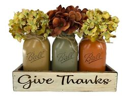 Fall Mason Ball Quart Jars In Engraved Give Thanks White Tray Centerpiece Set