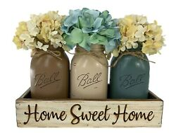 Mason Ball Quart Jars In Engraved Home Sweet Home White Tray Centerpiece Set