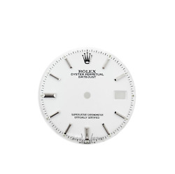 Rolex 36mm Mens Datejust White Index Nonquick Stick Dial 1601 1603 Face Only
