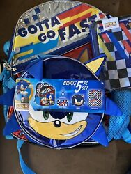 Sonic The Hedgehog 5 Piece Backpack Lunch Kit Set Cinch Sack Case Squish Ball