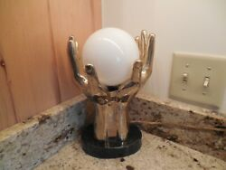 Vintage Brass And Marble Hand Table Lamp With Globe