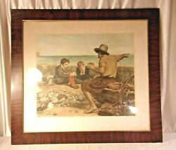 Large Antique Framed Etching 36x40 Holds 30x34 Molding 3 1/4