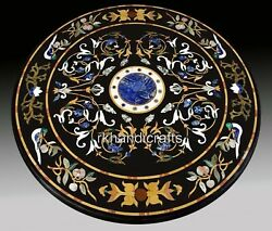 Pietra Dura Art Round Marble Coffee Table Top Patio Dinette Table Size 48 Inches