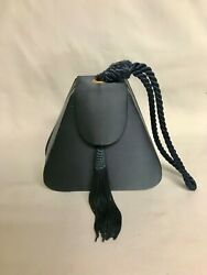 Evening Bag Navy Blue Satin with Wrist Strap and Long Tassel Accent $9.99