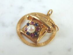 Womens Vintage Estate 14k Yellow Gold Telephone Brooch 12.2g E962