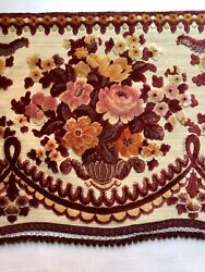 Vintage Victorian Style Chenille Flowers Floral Red Pink 116andrdquo Valance 9 + Feet