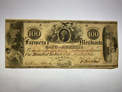 1854 100 Farmers And Merchants Bank Of Memphis Obsolete Note Rare Low 57