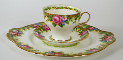 Vintage Paragon Fine Bone China Tapestry Rose Tea Cup, Saucer And Cake Plate