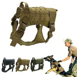 Tactical K9 Training Dog Harness Military Police Adjustable Molle Nylon Vest US