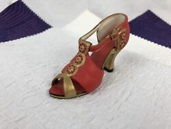 """If The Shoe Fits - Nostalgia - Red And Gold - Flowers - 4"""" Collectible Shoe"""