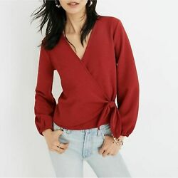 Madewell Texture And Thread Crepe Wrap Top Plus Us Womenand039s Size S