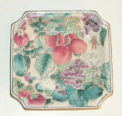 Vintage Andrea By Sadek Square Plate Tray Grapes Plums Apples Dragonfly