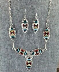 Turquoise, Coral And Sterling Silver Necklace And Earrings Set - Gladys Lamy