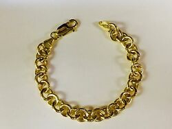 14kt Solid Yellow Gold Round Rolo Charm Link Bracelet 10 Inch 33 Grams 8.5 Mm
