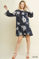 Sml Bluheaven By Umgee Navy Floral Print 3/4 Cinched Sleeve Dress/tunic Bhcs