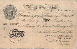 1952 White Andpound5 Banknote Bank Of England Signed By Beale. Serial No. X16 084517