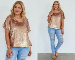 ROSE GOLD FASHION TO FIGURE SEQUINED PLUS TOP XL NEW PARTY NWT