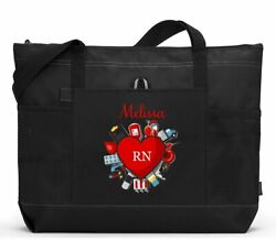 Medical Nurse Heart Rn Lpn Personalized Zippered Tote Bag