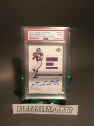 Fran Tarkenton Autograph 2001 Ud Pros And Prospects Game Used Jersey Psa 9 Mint