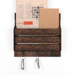 Mail Sorter Wall Mount Mail And Key Holder Organizer With 3 Key Hooks For Entryway