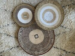 Serena amp; And Lily Set Of 3 Lala Palm Brown White Gold Tonga Del Sol Wall Baskets