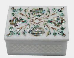 4 X 3 Inches Marble Trinket Box Inlay Brooch Box With Abalone Shell Stone Work