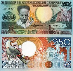 Suriname 250 Gulden Banknote World Paper Money Currency Pick P134 1988 Bill Note
