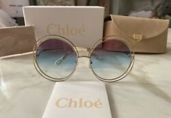 Chloe Carlina Sunglasses CE 114 SD 814 Gold Purple Azure Crystal Lens 58 New $199.95