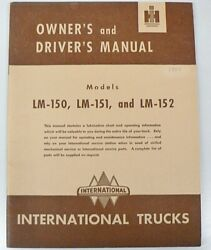 International Harvester Truck 1950 Owners Manual Models Lm-150 151 And 152