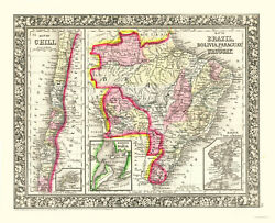 1860 Mitchell Hand Colored Map Brazil Chile Bolivia Paraguay Uruguay-3 Inset
