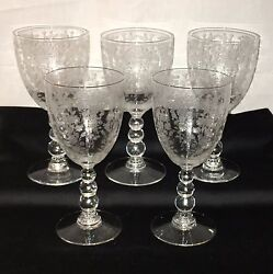 5 Duncan And Miller First Love Crystal 6 3/4 10 Oz Water Goblets 5111 1/2