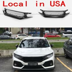 For Honda 17+ Civic Typ-r Fk8 Js Style Front Bumper Grill Mesh Grilles Cover Frp