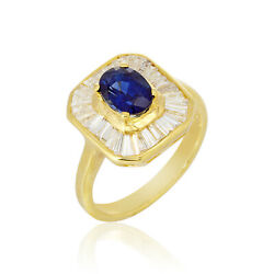 1.41cts Sapphire Jewelry 0.61ct Diamond Ring 18k Yellow Gold Ornament Vintage