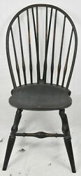 Wallace Nutting Black Brace Back Windsor Chair Bench Made