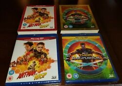 Marvel 3d Blu Ray Lot Ant-man And The Wasp 3d Thor Ragnarok 3d W Slipcovers