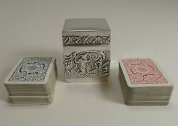 Miniature Antique English Sterling Silver Playing Card Box - 1899