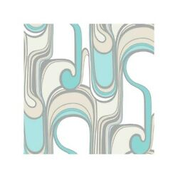 2 Double Rolls York 4240 Curves Ahead Wallpaper Teal Taupe White