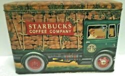 Starbucks Coffee Tin Metal Truck Silver Crane Designs England Vehicle Canister