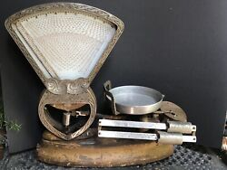 Wow Antique National Store Specialty Scale Weights Vintage Metal Large Farmhouse
